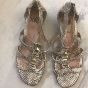Sofft wedge snakeskin leather sandals